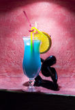 Blue cocktails. Glass with blue cocktails with ice Royalty Free Stock Photos