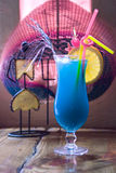 Blue cocktails. Glass with blue cocktails with ice Royalty Free Stock Image