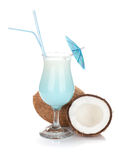 Blue coconut cream cocktail Stock Photos