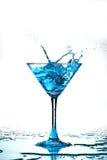 Blue coctail splash. Macro close up Royalty Free Stock Images