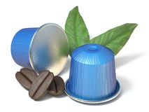 Blue coffee capsules with coffee beans and leaves 3D Royalty Free Stock Photography
