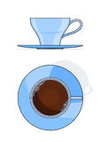 Blue coffee cup with plate. Vector illustration isolated on white background Stock Photo