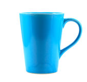 Blue coffee cup on white background Royalty Free Stock Images