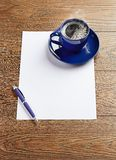 Blue coffee cup on white blank Stock Photos