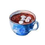 The blue coffee cup with white marshmallows. Isolated object on white background, watercolor illustration. Stock Images