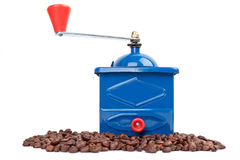 Blue coffee grinder Stock Photo