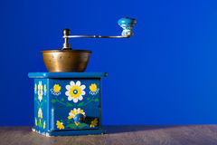 Blue coffee grinder Royalty Free Stock Photos