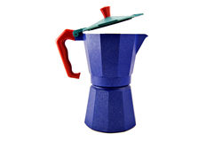 Blue coffeepot. With red handle, isolated on white background Stock Photo