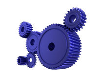 Blue cogs. 3d illustration of cogs/gears on a white background Royalty Free Stock Photo
