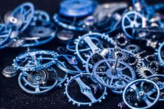 Blue cogs gears wheels collection set. Close view royalty free stock photos