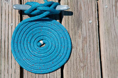 Blue Coil of Nautical Rope Royalty Free Stock Images