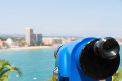 Blue Coin Operated Telescope Of Panoramic Tropical City And Ocean Royalty Free Stock Photography