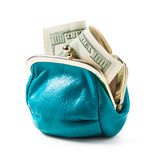 Blue coin purse with money Royalty Free Stock Images