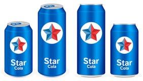 Blue cola aluminium soft drink cans vector Stock Photos