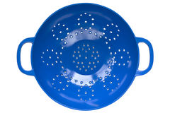 Blue Colander. Viewed from above, over white background Royalty Free Stock Photo