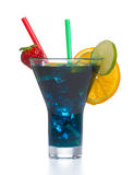 Blue cold cocktail with ice Stock Photo