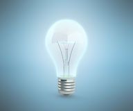 Blue cold Lighting Bulb 3d render on blue background Royalty Free Stock Photo