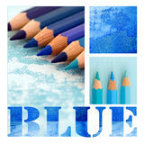 Blue Collage. Collage with text and blue pencils, containing artwork is created by myself Royalty Free Stock Photography