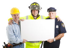 Blue Collar Guys with Sign royalty free stock image