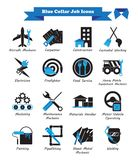 Blue Collar Job - Black And Blue Flat Icons. Vector Illustration Ready-To-Use 16 Blue Collar Job - Black And Blue Flat Icons As Multiple Professions Involved In Royalty Free Stock Photo
