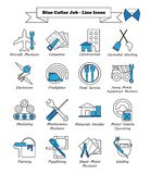 Blue Collar Job - Line Icons. Vector Illustration Ready-To-Use 16 Blue Collar Job - Line Icons Designed as Multiple Professions Involved In Worker, Labor, Skill Royalty Free Stock Photo