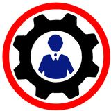 Blue collar labor silhouette in machine gear warning sign isolated on white background.  Royalty Free Stock Photography