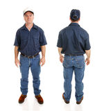 Blue Collar Man Two Views Stock Images