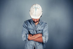 Blue collar worker with arms crossed Royalty Free Stock Photos