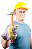 Blue collar worker with hammer. Blue collar worker with yellow helmet and hammer, isolated on white background Royalty Free Stock Photo