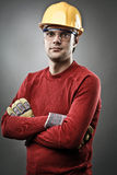 Blue collar worker with hardhat Stock Image