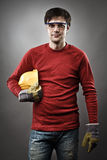 Blue collar worker with hardhat Royalty Free Stock Image