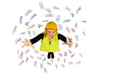 Blue collar worker wages money flying Turkish lira on white background Stock Photography