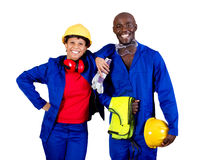 Blue collar workers. Two happy african american blue collar workers on isolated white background stock photo