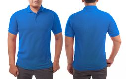 Blue Collared Shirt Design Template. Blank collared shirt mock up template, front and back view, Asian male model wearing plain blue t-shirt isolated on white stock photos