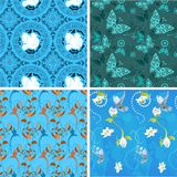 Blue collection seamless patterns Royalty Free Stock Photos