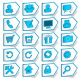 Blue collection of stickers Royalty Free Stock Images
