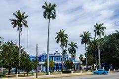 Blue colonial building in Cienfuegos, Cuba Stock Image