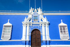 Blue Colonial Building in Peru Stock Images