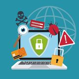 Blue color background laptop with security shield and icons protection. Vector illustration vector illustration