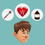 Blue color background with sickness man face icons medicine. Vector illustration Stock Photography