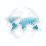 Blue color background with world map, shadow, abstract waves, lines, curves. Stock Photography