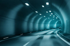 Blue color blurred tunel driving Royalty Free Stock Image