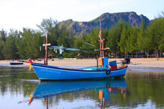 Blue color boat. Local life fishermen tool carrer Royalty Free Stock Photography