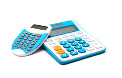 Blue color calculator on white background Royalty Free Stock Image