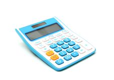 Blue color calculator on white background Royalty Free Stock Images