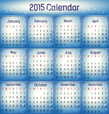 2015- Blue color calendar. Blue color calendar in us style, start on sunday, each month with individual table royalty free illustration