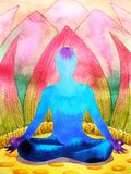 Blue color chakra human lotus pose yoga, abstract world, universe. Inside your mind mental, watercolor painting illustration design hand drawn royalty free illustration