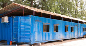 Blue color container office site Stock Photography