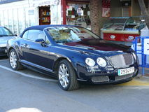 Blue color convertible Bentley Royalty Free Stock Images