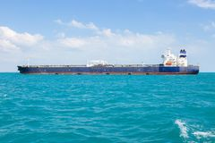 Crude oil tanker at anchor. Stock Photo